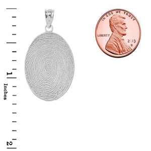Finger Print Pendant Necklace in Sterling Silver