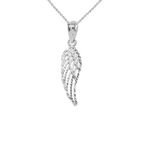 Angel Wing Cut-Out Sparkle-Cut Pendant Necklace in Sterling Silver