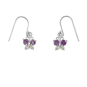 Mini Butterfly with Alexandrite Birthstone Earrings in Sterling Silver