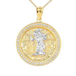 Saint Christopher medallion Pendant Necklace in Gold (Yellow/Rose/White)
