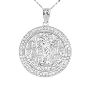 Saint Christopher medallion Pendant Necklace in Sterling Silver