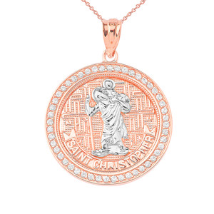 Diamond Saint Christopher medallion Pendant Necklace in Gold (Yellow/Rose/White)