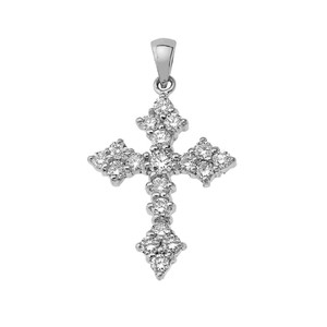 Diamond Cross Pendant Necklace in Gold (Yellow/Rose/White)
