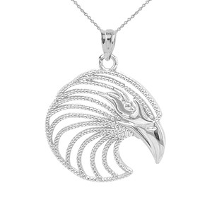 Eagle Head Pendant Necklace in Solid Sterling Silver