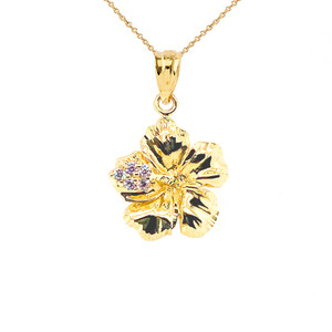 Diamond Caribbean Hibiscus Dainty Pendant Necklace In Gold (Yellow/Rose/White)