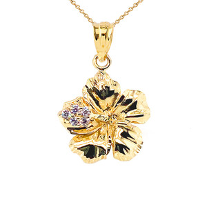 Large Diamond Caribbean Hibiscus Dainty Pendant Necklace In Gold (Yellow/Rose/White)