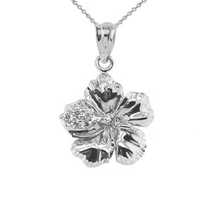 Large Diamond Caribbean Hibiscus Dainty Pendant Necklace In Sterling Silver