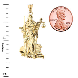 Designer Lady Justice Pendant Necklace in Gold (Yellow/Rose/White)