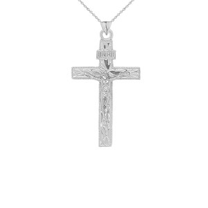 Two Tone Jesus Christ INRI Crucifix Cross Pendant Necklace in Gold (Yellow/Rose/White) (Small)