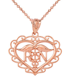Heart Registered Nurse Pendant Necklace in Gold (Yellow/Rose/White)