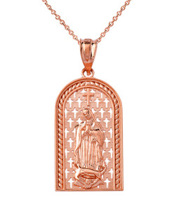 Our Miraculous Lady of Guadalupe Pendant Necklace in Solid Gold (Yellow/Rose/White)