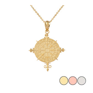 Ancient Viking Compass Pendant Necklace in Gold (Yellow/ Rose/White)