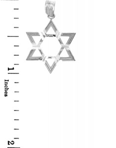 Jewish Charms and Pendants - 14K White Gold Gleaming Star of David Pendant