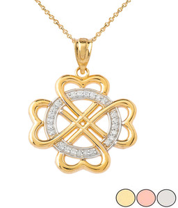 Diamond Heart-shaped Clover Pendant Necklace in Solid Gold (Yellow/Rose/White)