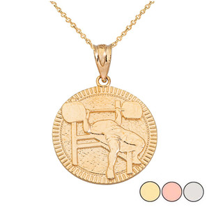 Bench Press Weightlifting Medallion Pendant Necklace in Gold (Yellow/Rose/White)