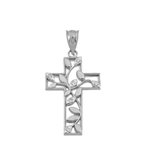 Leafy Cut-Out CZ Cross Pendant Necklace In Sterling Silver