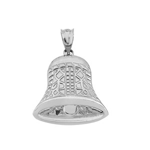 Antique Bell Pendant Necklace In Sterling Silver