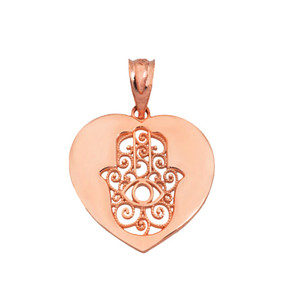 Cut Out Filigree Hamsa  Facing up In Heart Pendant Necklace in Gold (Yellow/ Rose/White)