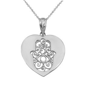 Cut Out Filigree Hamsa Facing Up In Heart Pendant Necklace in Sterling Silver