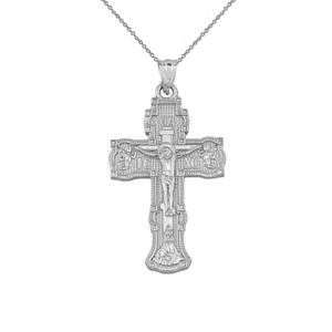 """Russian Orthodox """"Save & Protect"""" Cross Pendant Necklace in Gold  (Yellow/Rose/White)"""