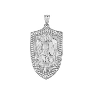 Saint Michael Shield Pendant Necklace in Gold (Yellow/Rose/White)