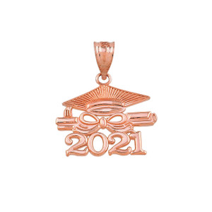 Gold Class of 2021 Graduation Diploma & Cap Pendant Necklace (Yellow/Rose/White)