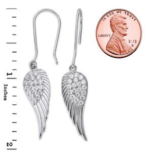 Angel Wings Ear-Wire Earrings in Sterling Silver