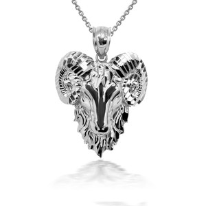 925 Sterling Silver Ram Aries Zodiac Pendant Necklace with Caged Back