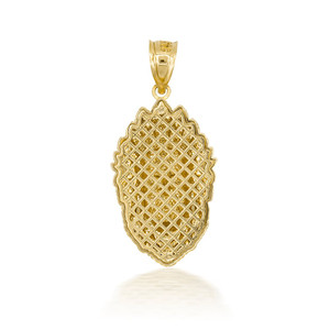3D 10k/14k Gold Apache Pendant Necklace with Caged Back (YELLOW/ROSE/WHITE)