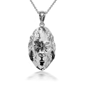 925 Sterling Silver 3D Gorilla Face Pendant Necklace with Caged Back