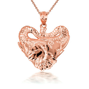 3D 10k/14k Elephant Heart Shape Pendant Necklace with Caged Back (YELLOW/ROSE/WHITE)