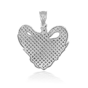 925 Sterling Silver 3D Elephant Heart Shaped Pendant Necklace with Caged Back