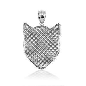 3D 10k/14k Gold Cat Face Pendant Necklace with Caged Back (YELLOW/ROSE/WHITE)