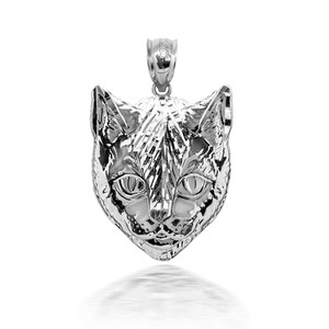 925 Sterling Silver 3D Cat Face Pendant Necklace with Caged Back