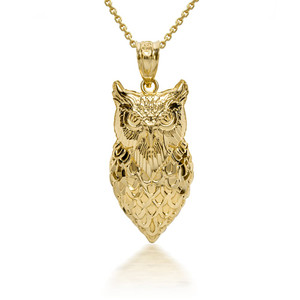 3D 10k/14k Gold Owl Pendant Necklace with Caged Back (YELLOW/ROSE/WHITE)