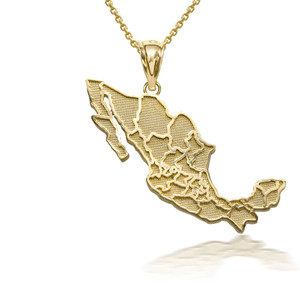 10k/14k Gold Mexico Map Pendant Necklace (YELLOW/ROSE/WHITE)