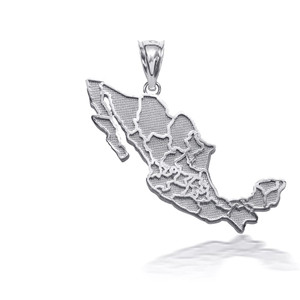 925 Sterling Silver Mexico Map Pendant Necklace