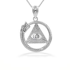 3D 10k/14k Solid Gold Eye of Horus Ouroboros Pendant Necklace (YELLOW/ROSE/WHITE)