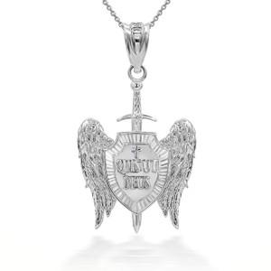 """925 Sterling Silver Saint Michael Sword and Shield """"Quis ut Deus?"""" Pendant Necklace"""