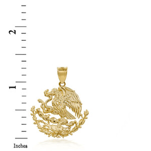 3D 10k/14k Gold Mexican Eagle Coat Of Arms Pendant Necklace (YELLOW/ROSE/WHITE)