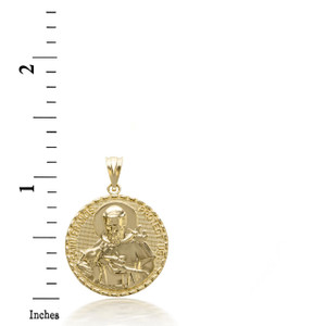 3D 10k/14k Solid Gold Saint Francis Protect Us Pendant  Necklace(YELLOW/ROSE/WHITE)