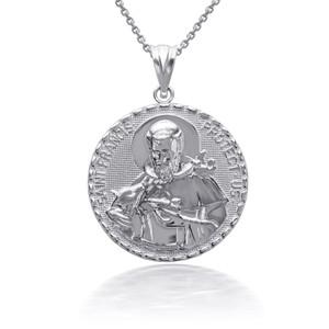 925 Sterling Silver 3D Saint Francis Protect Us Pendant Necklace