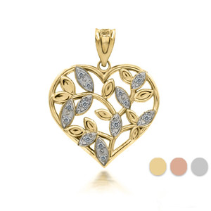 10k/14k Solid Gold Two-Tone Olive Leaf Cut Out Heart Pendant with Diamonds (Yellow/Rose/White)