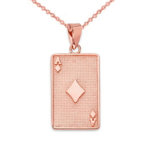 Ace of Diamonds Card Pendant Necklace in Gold (Yellow/Rose/White)