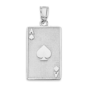 Ace of Spades Card Pendant Necklace in Sterling Silver
