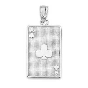 Ace of Clubs Card Pendant Necklace in Gold (Yellow/Rose/White)