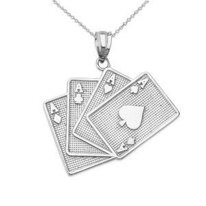 Four of a Kind Aces Card Pendant Necklace in Gold (Yellow/Rose/White)