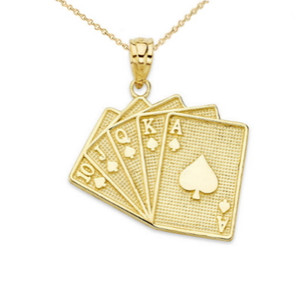 Royal Flush Card Pendant Necklace in Gold (Yellow/Rose/White)