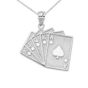 Royal Flush Card Pendant Necklace in Sterling Silver