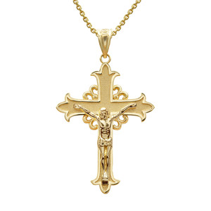 Gold Medieval Crucifix Cross  Pendant Necklace (YELLOW/ROSE/WHITE)